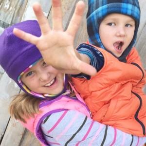 Kids Fleece Winter Hat with Chin Strap - Reversible Unisex Fleece Hat