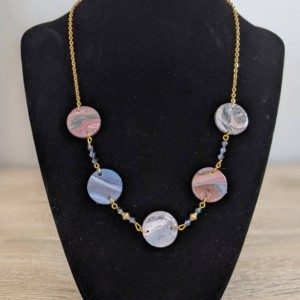 Multicolor asymmetric necklace | Modern Necklace | Statement Necklace in Polymer clay boho hippie necklace