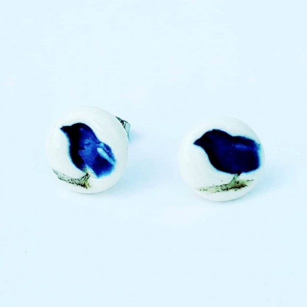 Porcelain bird studs in blue or red