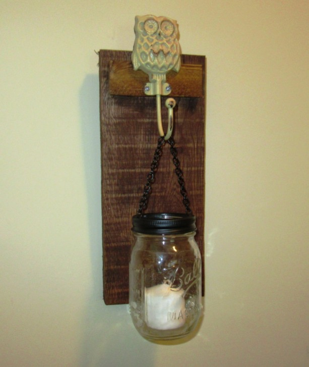 Rustic Owl Mason Jar Wall Sconce, Mason Jar Candle Holder, Wall aftcra