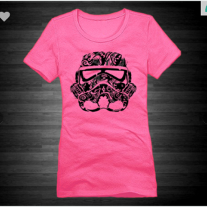 Star Wars StormTrooper XS To XL District Brand Crew T-shirt For Women In Dark Fuchsia With Black Ink