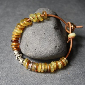 Glass Beaded Bracelet - Honey Yellow Amber Color - Silver Piece