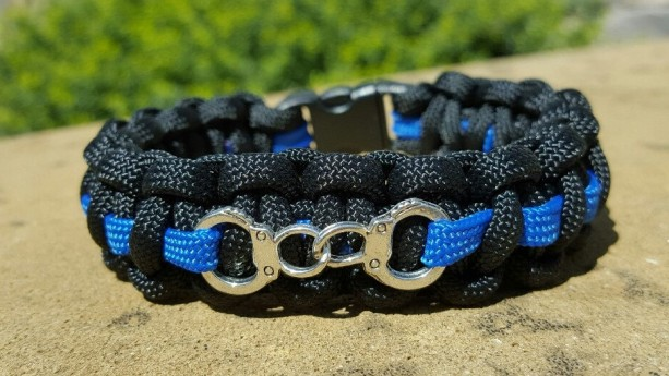 Police Handcuff Orthin Blue Line Paracord Bracelet Law Enforcement Policeman Officer