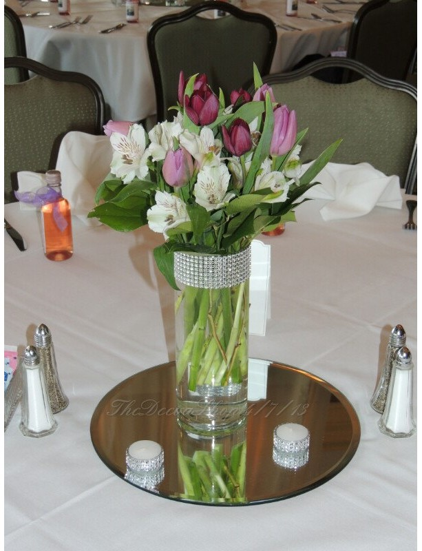 Glass Cylinder Vases Bling Wedding Centerpieces Silver Rhinesto