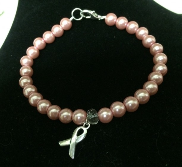 Pink ribbon, breast cancer awareness bracelet, pink pearl and silver charm