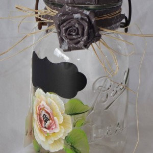Vintage Mason Jars, Ball Hand painted One-stroke Flowers chalkboard Label