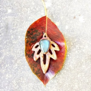 Electroformed Leaf and Labradorite Pendant