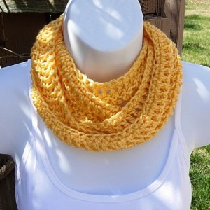 Women's Skinny Solid Yellow Soft SUMMER INFINITY SCARF Handmade Crochet Knit Cowl Lacy Lightweight Small Loop Scarf, Ready to Ship in 2 Days