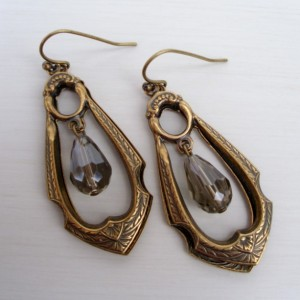 Lovely Smoky Crystal Drop Brass Earrings