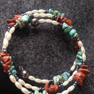 Turquoise and red jasper memory wire bracelet
