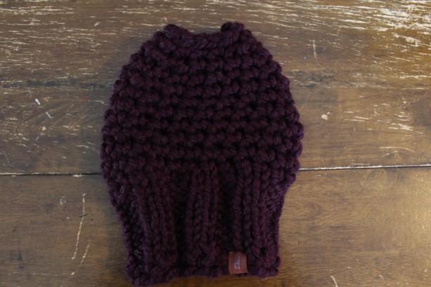 Dark Purple Bun Hole Hat, size small