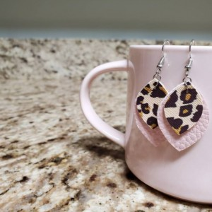 Faux Leather Leopard Earrings