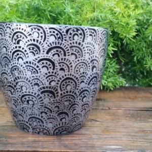 Black Ceramic Pot with Beautiful Silver Hand-Drawn Design