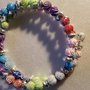 Multi-color Silver Spiral Beaded Set