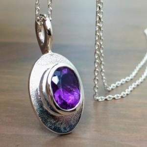 Amethyst Necklace. Oval Purple Amethyst Necklace. Amethyst Pendant. Handmade Amethyst Jewelry. Gifts under 100