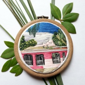 Tulum Casita Hand Embroidery Hoop Art