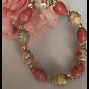 Girls pink paper bead bracelet