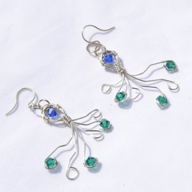 Wire Wrap Earrings Summertime Beach Jewelry Blue And Green Octopus