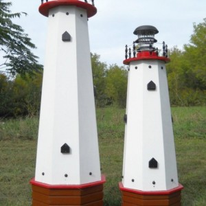 "48"" Solar lighthouse wooden well pump cover decorative garden ornament - red accents"