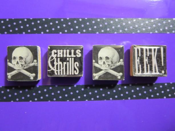 Set of 4 Scrabble® Game Tile Magnets Chills & Thrills