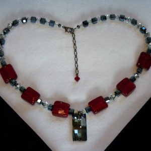 Swarovski Red & Gunmetal Necklace