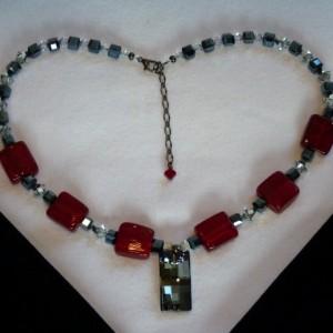Swarovski Red & Gunmetal Necklace
