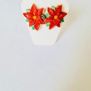 Red poinsettia studs X-mas Flower Earrings, Christmas Jewelry, Christmas Stud Earrings