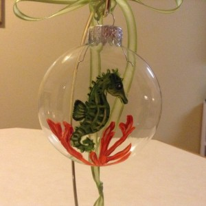 Ornament,  glass,  Seahorse, hand painted