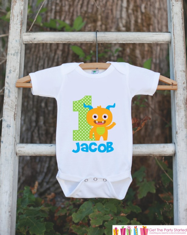 Monster Birthday Outfit - Personalized Bodysuit For Boy's 1st Birthday Party - First Birthday Little Monster Birthday Onepiece With Name