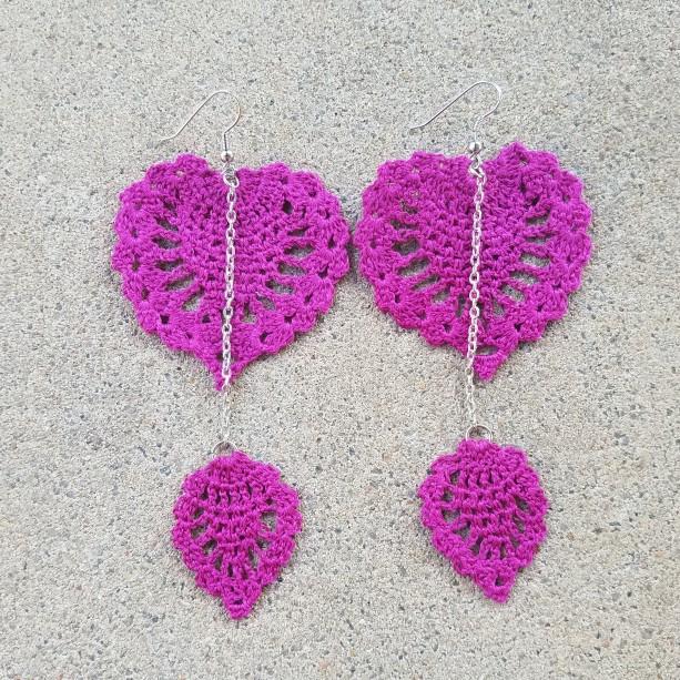 Crocheted Earrings Magenta