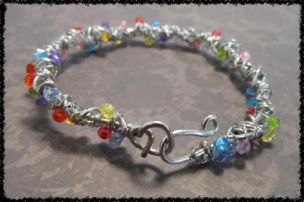 Swarovski Crystal Bead Sculptural Wire Bracelet