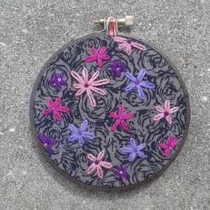 Floral Hand Embroidery in a Hand Stained Hoop- Wall Art (4 inch)