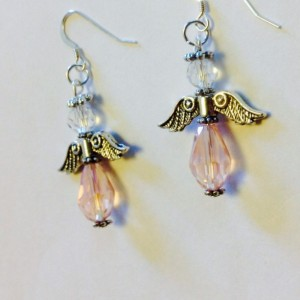 Pink Angel Earrings, Handmade Beaded Chrystal and Silver Angel Earrings, Angel Charm, Christmas Jewelry, Confirmation Gift, Godmother Gift
