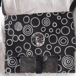 Sugar skull side bag with adjustable strap