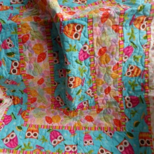 Modern pink and aqua baby girl crib quilt