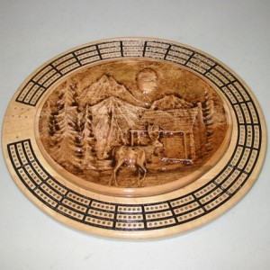 Deer Scene 3 track oval cribbage board with storage