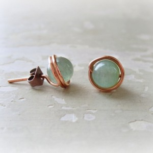 Copper Post Earrings, Aventurine Stud Earrings, Green Post Earrings, Wire Wrap Earrings, Green Studs, Aventurine Posts, Natural Stone Studs