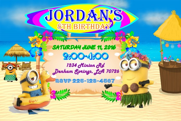 minion beach party birthday invitation aftcra
