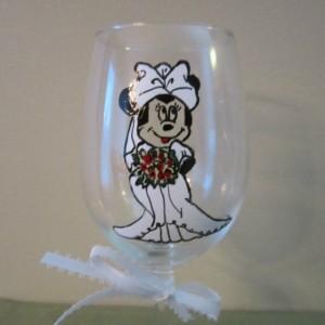 Mickey and Minnie Mouse Wedding Dress Wine Glass 12 oz