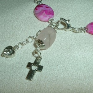 1 Decade Rosary of the 7 Sorrows Bracelet, Pink Agate, Silver