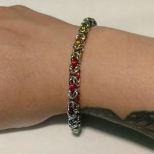 Rainbow Byzantine chainmaille bracelet