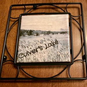 Custom Trivet-Ceramic Tile Trivet-Culver's Lake NJ-Black Metal Square Holder-Kitchen and Dining-Kitchenware-Personalized Trivet-Kitchen Item