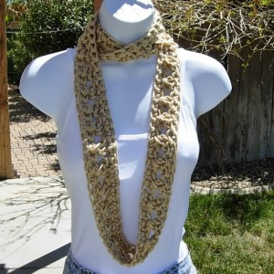 SUMMER SCARF Small Cowl Infinity Loop, Beige Light Solid Natural Tan, Soft Lightweight Crochet Knit Circle Necklace..Ready to Ship in 2 Days