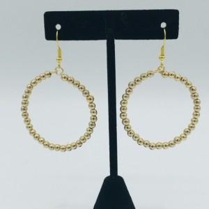 Gold Bead Hoop Earrings
