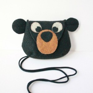 Black Bear Wool Felt Purse