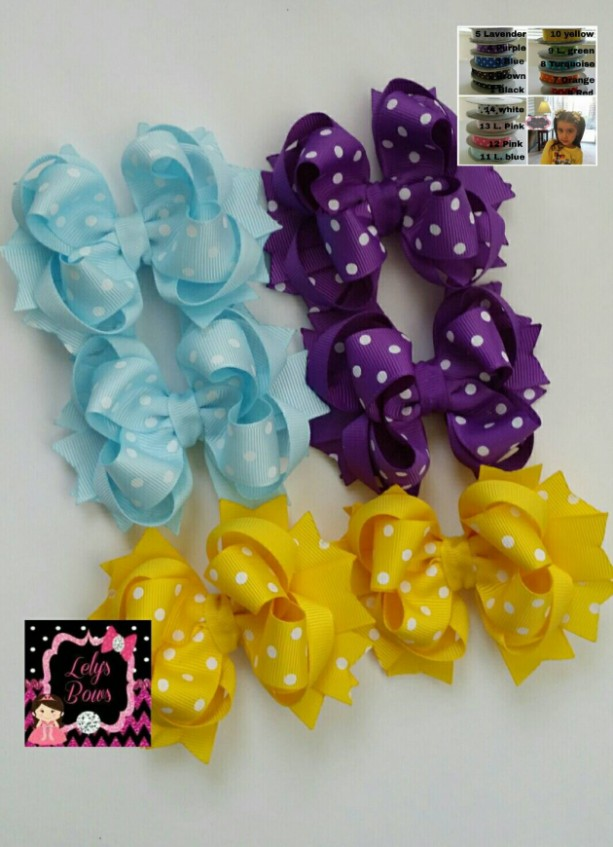 Set of 6 pcs 4 inch pigtails hair bows for girls, small Stacked Boutique Hair Bow, bow girl hair, baby bow, you can choose from 14 colors