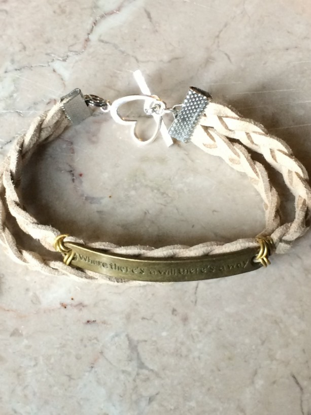 "Beige/ natural color braided leather bracelet with bronze tone plate connector said ""Where there's a will there's a way""& heart claps B00244"