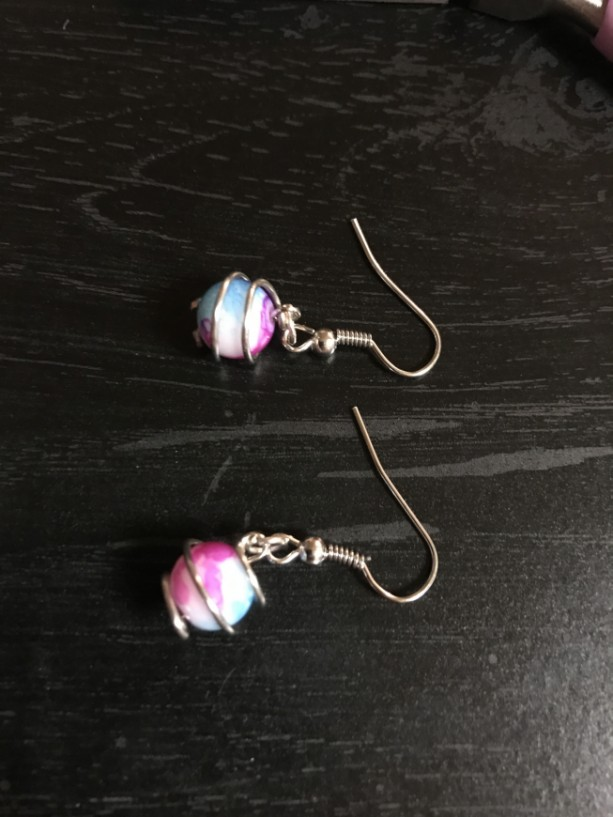 Silver and Pink, Purple, Blue swirl earring