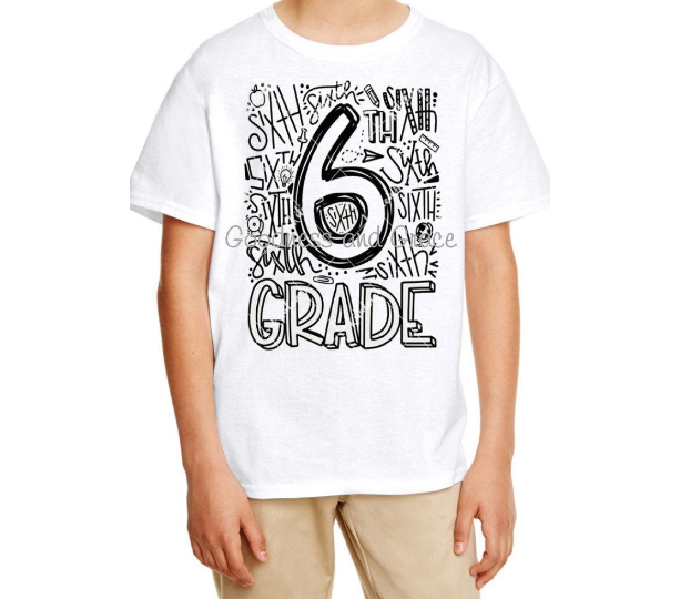 First Day Back to School T-Shirt Typography Subway Art Tee K 1st 2nd 3rd 4th 5th 6th 7th 8th Grade Tee Name Upon Request