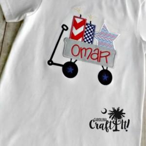 Boys Fourth of July Tshirt, 4th of July Boys Shirt, Fourth of July Wagon Shirt, Stars, 4th of July Parade and Fireworks, Stars, Stripes